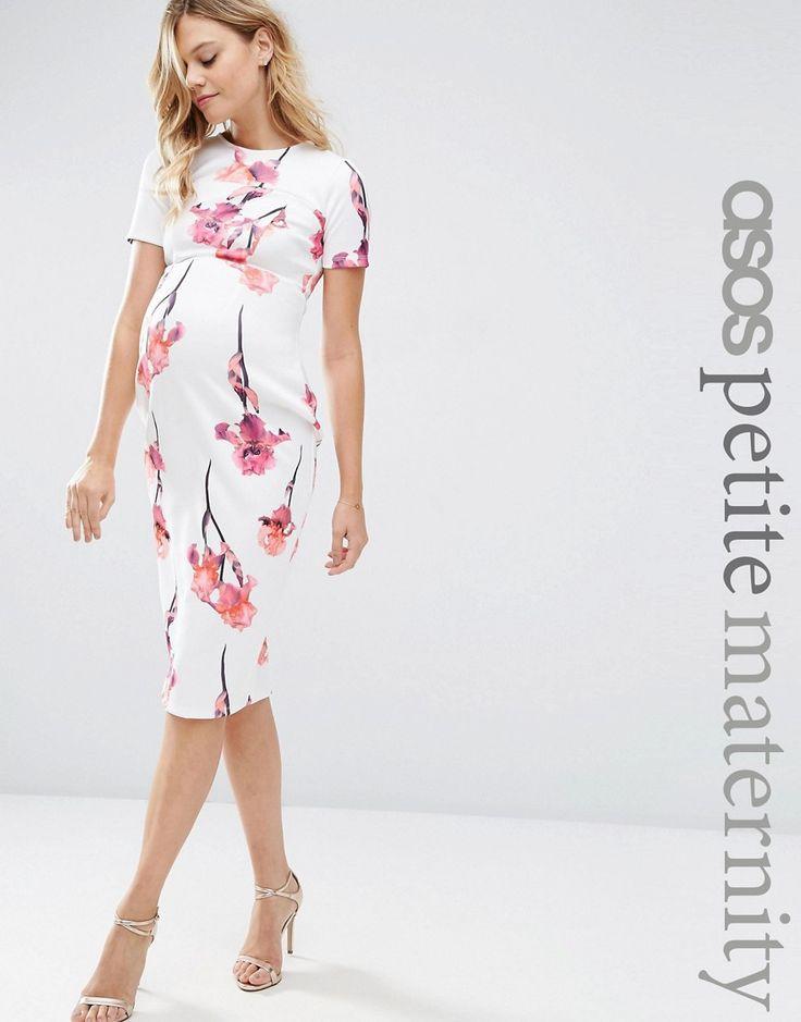 Image 1 ofASOS Maternity PETITE Scuba Pencil Dress In Red Floral