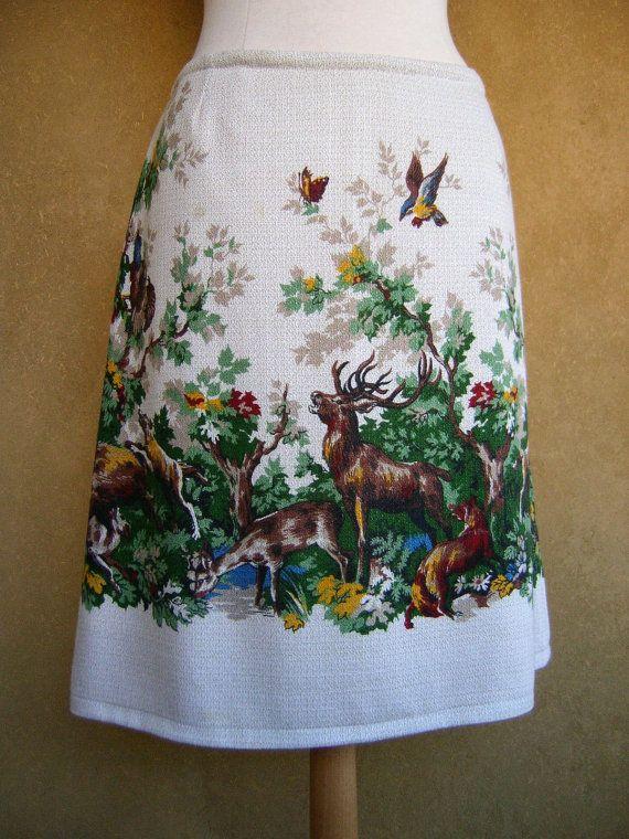 Herfst Herten Jacht Vintage Tafelkleed A-lijn rok door LUREaLURE