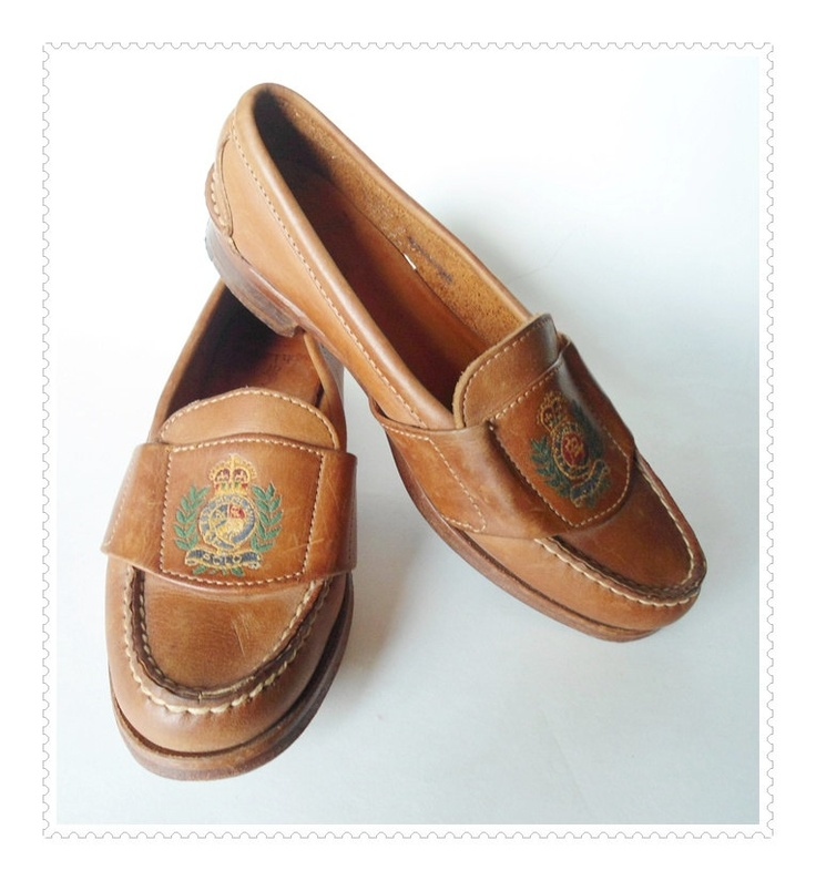 Vintage Tan Leather RALPH LAUREN Loafers with Crest ...