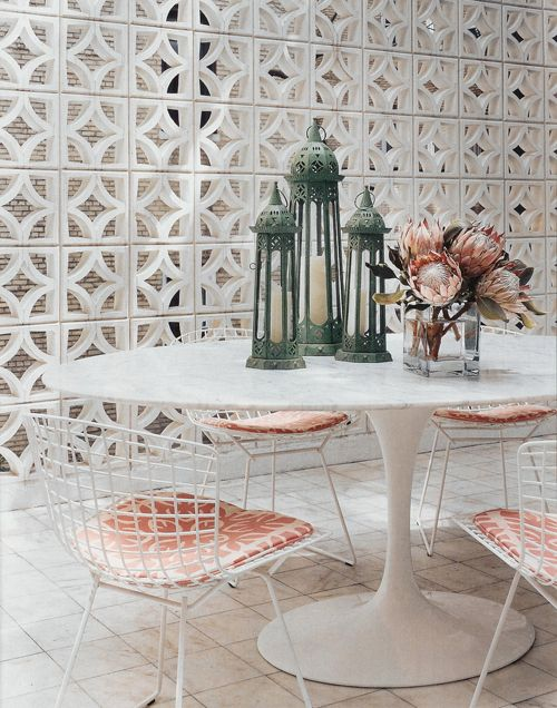 a gorgeous breakfast room nasty besa block bricks actually look attractive painted white. Love the round table chairs.