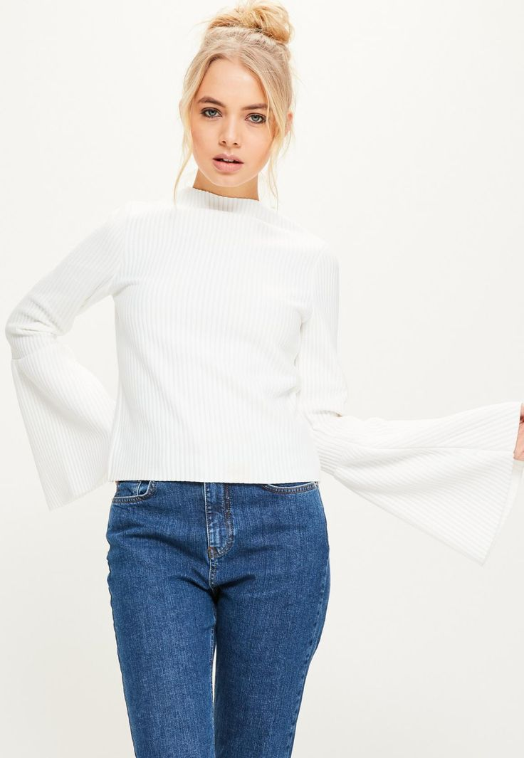 Missguided - White High Neck Ribbed Flared Sleeve Top