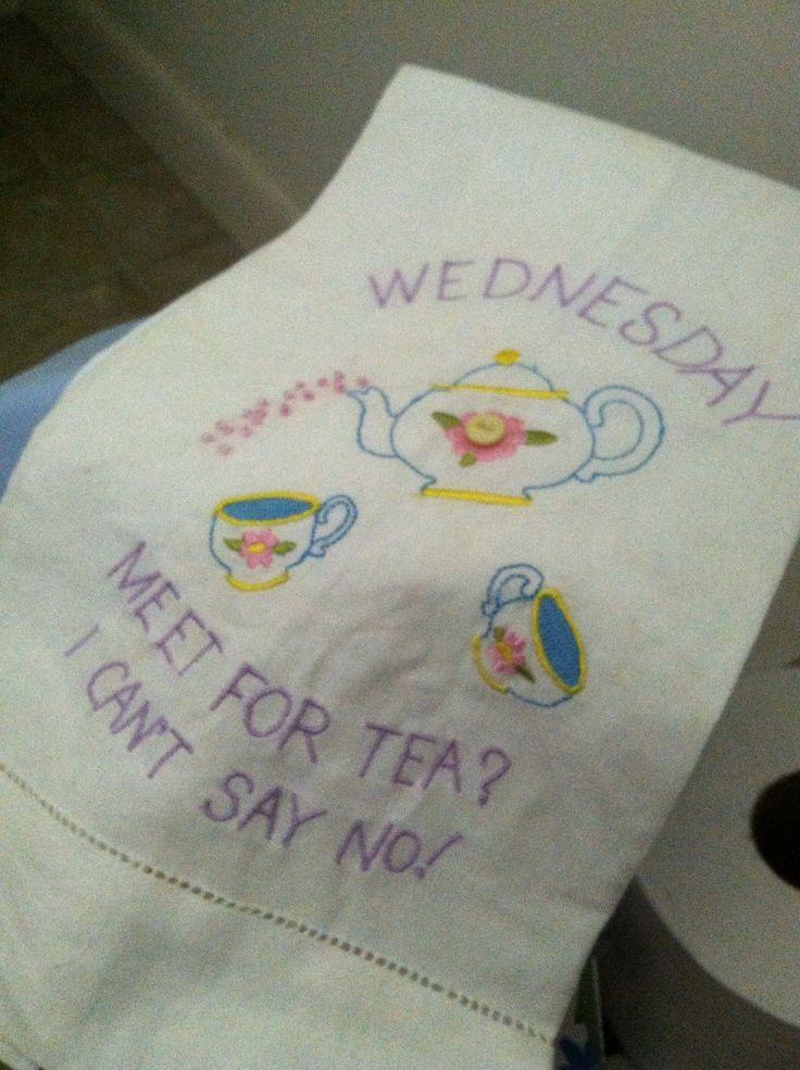 Tea towel at Mills Herb Garden.