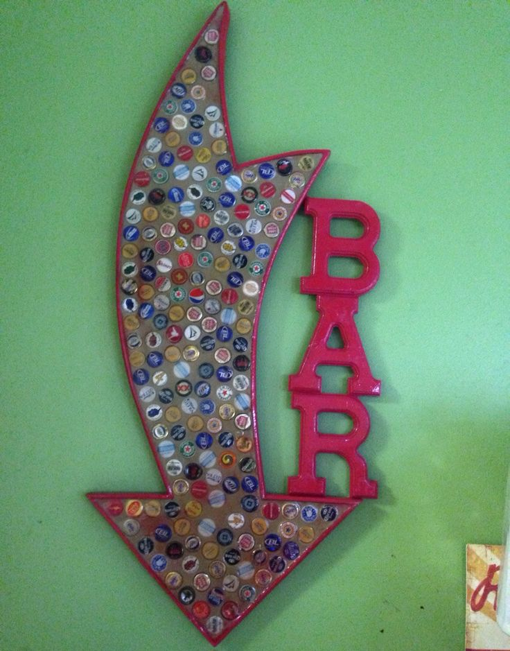 Arrow bar sign by myafterthoughts23 on etsy for Bottle cap projects