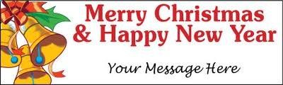 Merry Christmas & Happy New Year Banner with your custom message. Add your wishes and messages for guest and your wishers. Get Festival banner online form BannerBuzz.co.uk