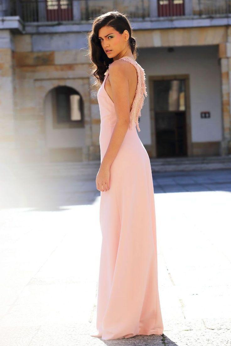 comprar online Vestido largo de fiesta rosa palo con escote en la espalda para boda graduacion evento de primavera verano en apparentia