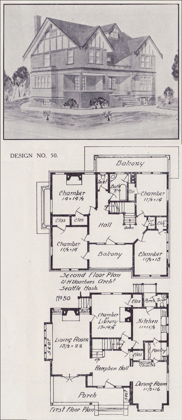 Tudor House Plan - Seattle Vintage Residential Architecture - 1908 Western Home Builder - Design No. 50 - Victor W. Voorhees