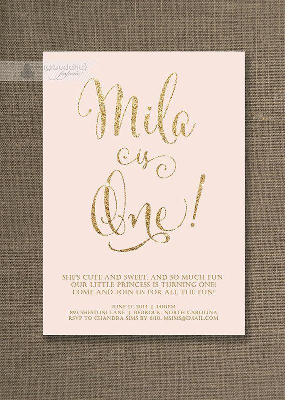 Blush Pink & Gold Birthday Invitation Girl Gold Glitter Pastel Pink Script Modern First 1st Shabby Chic Printable Digital or Printed