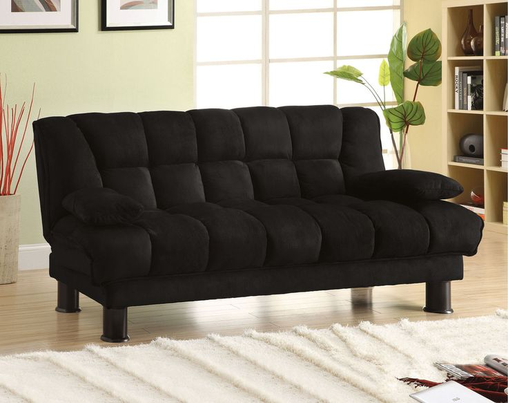 Cm2150 Bonifa Collection Futon Sofa With Underseat Storagecovered In Super Soft Black Microfi Ber This