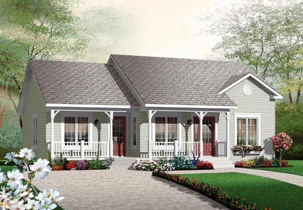 Elevation Of Bungalow Colonial Traditional House Plan 64891 Houses To Be Built Pinterest