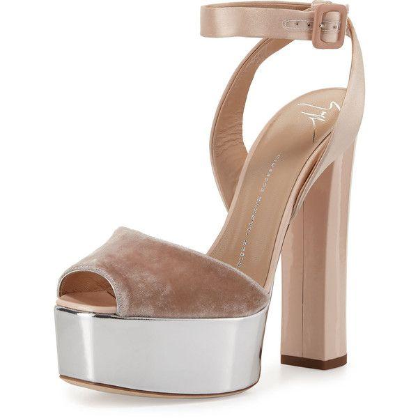 Giuseppe Zanotti Velvet & Leather Platform Ankle-Wrap Sandal ($795) ❤ liked on Polyvore featuring shoes, sandals, heels, cipria, shoes sandals, platform shoes, metallic leather sandals, ankle strap sandals, platform sandals and ankle wrap sandals