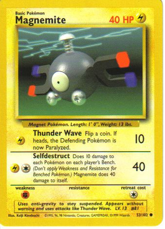 Magnemite (081) Magnemite consumes electricity, so they're attracted to power lines and electronic gadgets. Magnemite tend to crowd around generators and power plants, and an individual Magnemite might be attracted to someone with a pocket radio or a Pokégear.