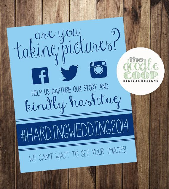 8x10 inch personalized hashtag print sign to display at your wedding so that your guests can