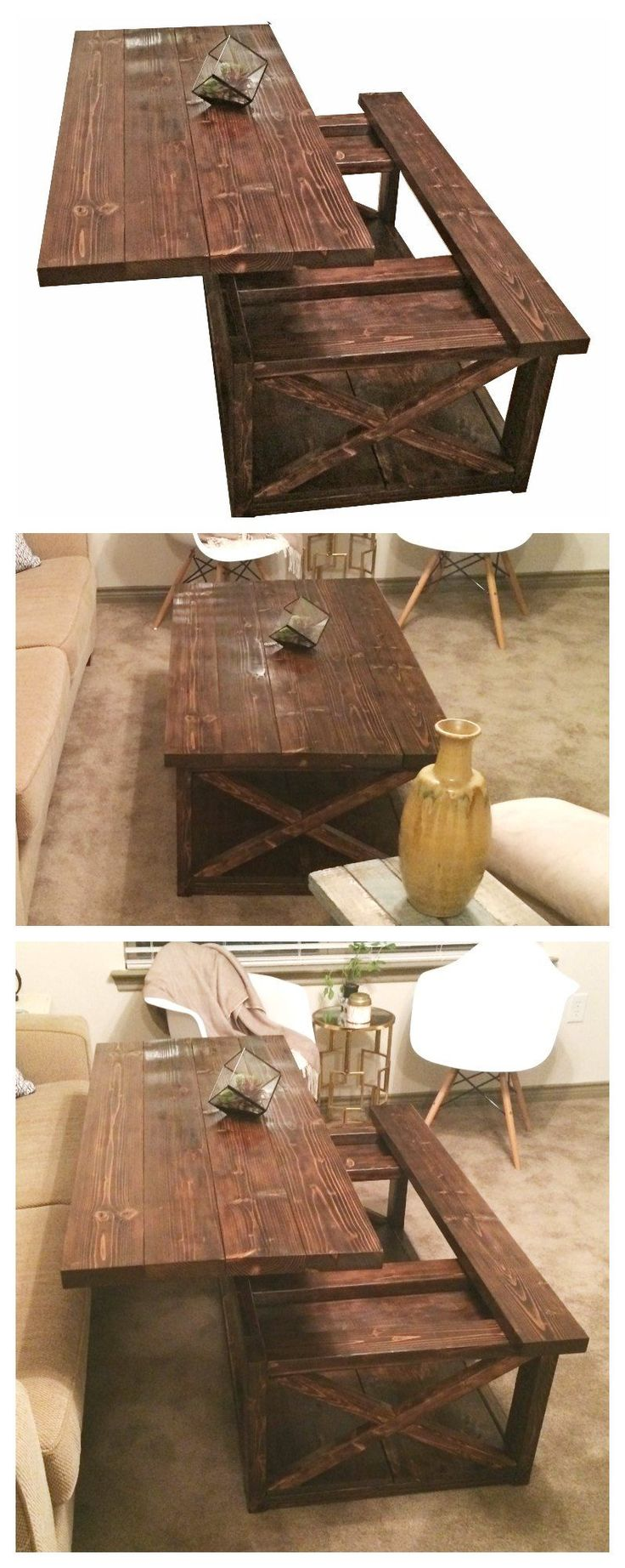 Lift top coffee table DIY - Rustic X coffee table with a lift top.