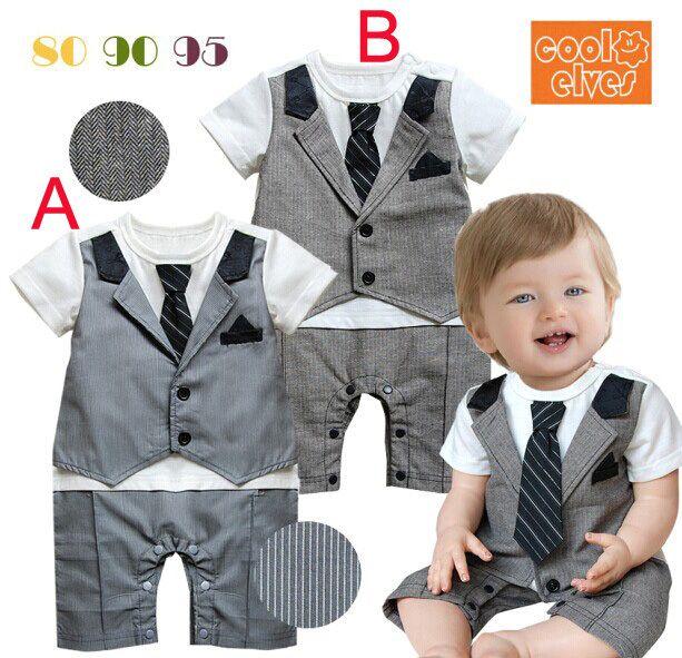 New Arrival Baby Clothes Wholesale 3 PCs Baby Boy Romper Tie Fake Vest Tuxedo Rompers Suit $31.00