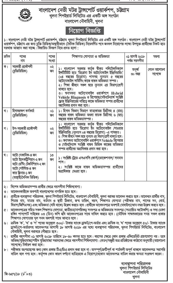 Bangladesh Navy Motor Transport Workshop Job Circular 2018 Job