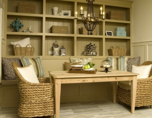 Banquette with shelving behind it <3