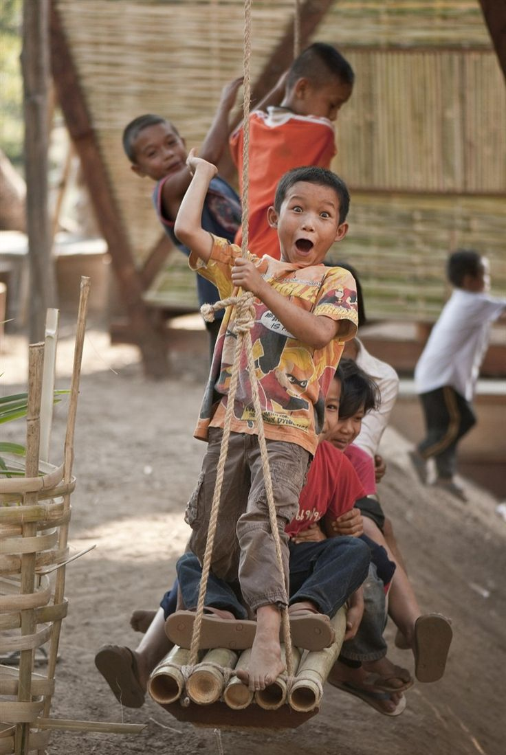 Orphans playing in the Noh Bo Village located on the Thai Burmese border.