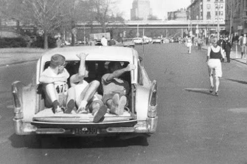 "Bobbi Gibb running the 1966 Boston Marathon - as the first woman to run it! Diversity is beautiful: ""Hub Bride First Gal to Run Marathon"""