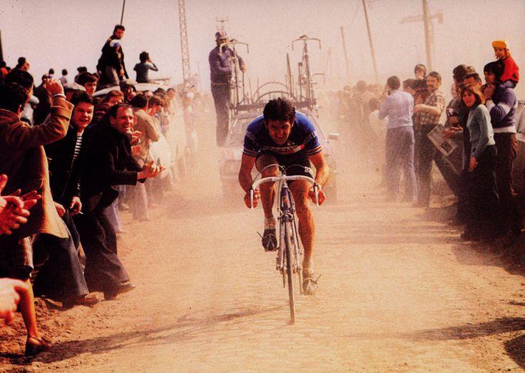 agentlemancyclist:  Roger de Vlaeminck, Winning Paris-Roubaix,(1977) Monsieur Paris–Roubaix Perhaps no other rider has delivered in Paris–Roubaix than Roger de Vlaeminck. de Vlaeminck holds the Roubaix record with four victories. He also finished second four times and third once. This record may never be surpassed. But much more than mere numbers was de Vlaeminck's total mastery of the pavé.    Indeed his nickname fit: Monsieur Paris–Roubaix