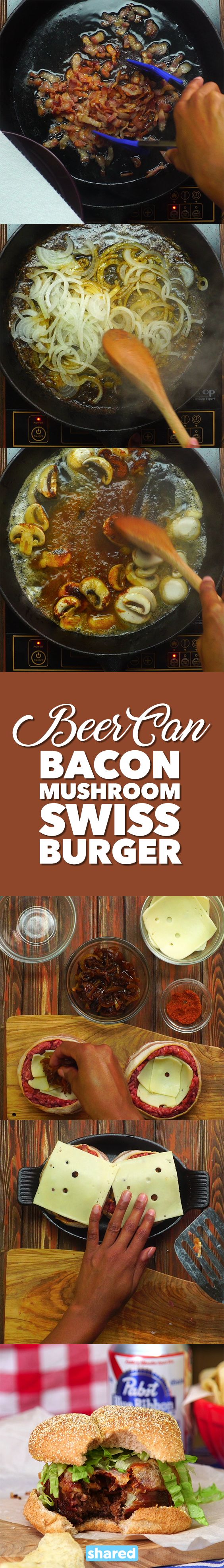 Beer Can Mushroom Swiss Burger