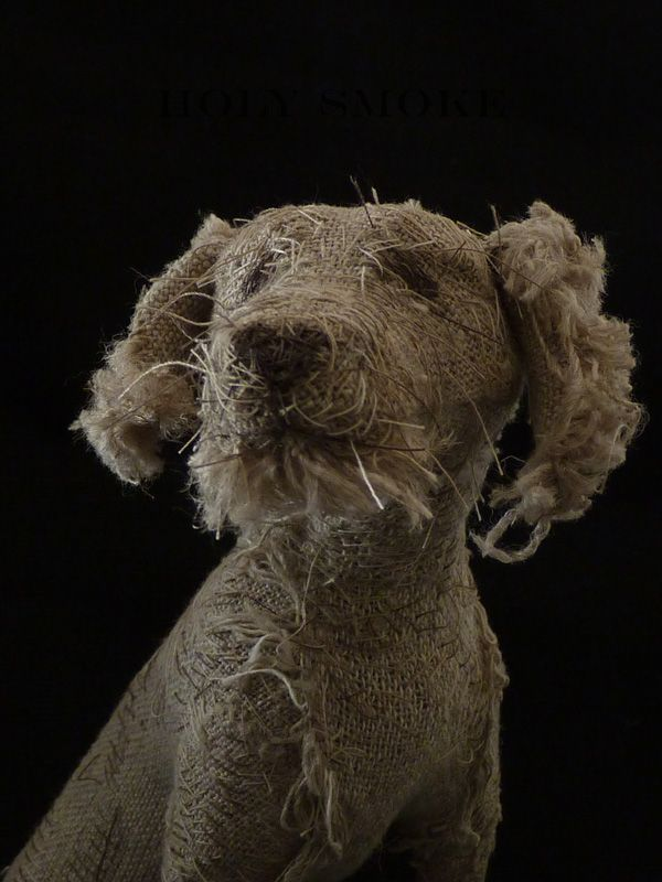Dog Sculpture - Made with linen, vintage textiles and thread. Drawn with hand stitching to convey expression and character. Designed by Holy Smoke.    This is delightful and so clever.