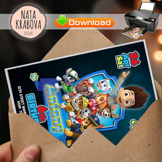 Buy it now and get free file with thanks card   Paw patrol invitation. Paw Patrol Party Supplies, Paw patrol birthday invitation. Paw Patrol birthday party. Paw Patrol Invite Paw Patrol Theme
