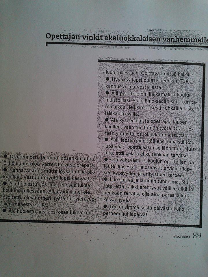 Ohjeita ekaluokkalaisen vanhemmalle / Pirkka-lehti
