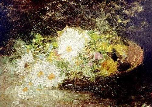Margarete (daisies) - Nicolae Grigorescu, romanian impressionist painter