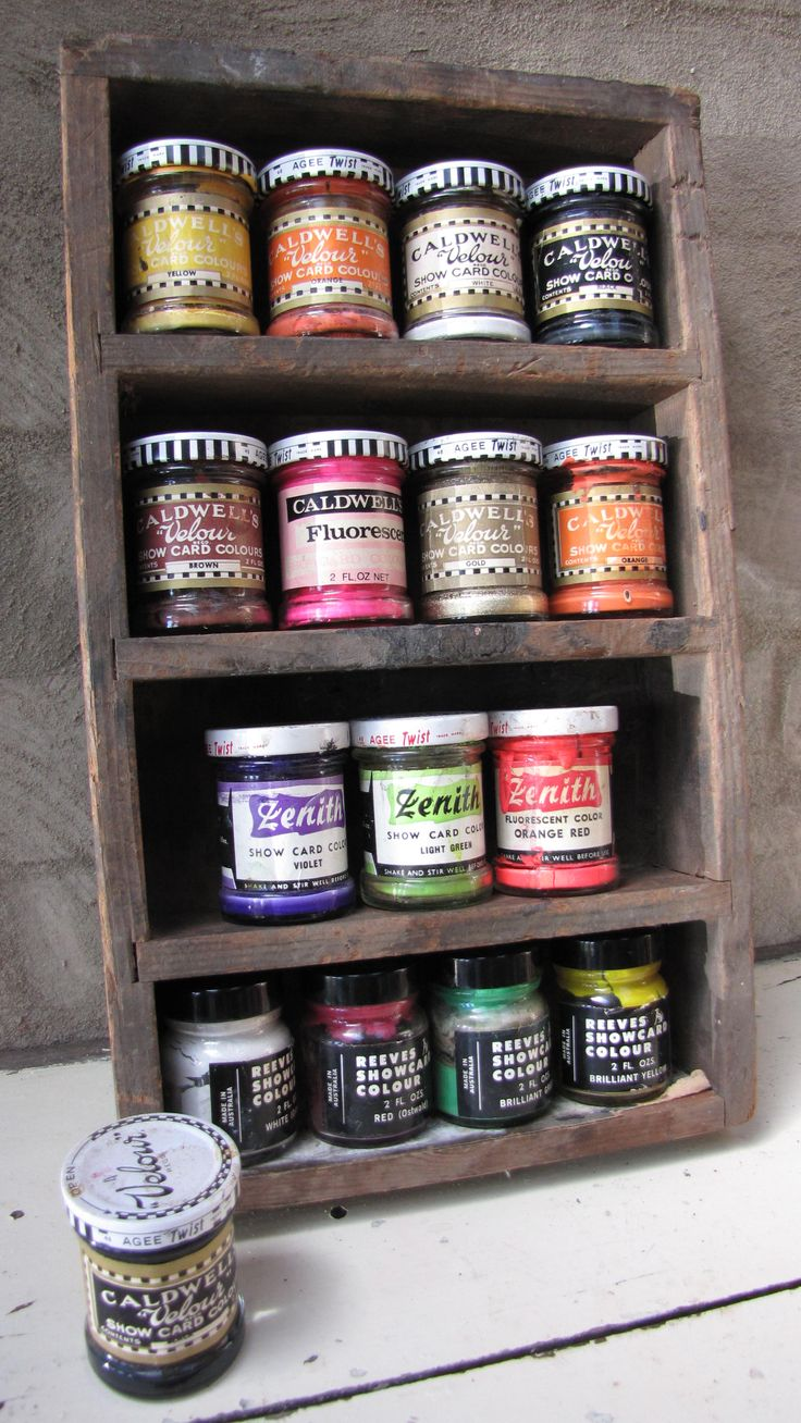 Vinatge styling: Cute rustic wooden shelves displaying vintage paints. https://www.facebook.com/pages/Rubys-and-Pearls/744861835533003