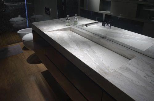 Lavabo sobre encimera / rectangular / de mármol / moderno CALACATTA TCC Whitestone