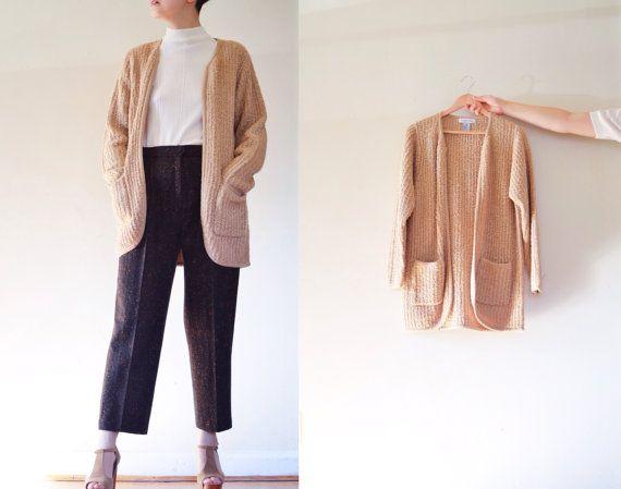Vintage TEXTURED CARDIGAN Long Sweater  Beige by AlcinaMelanie