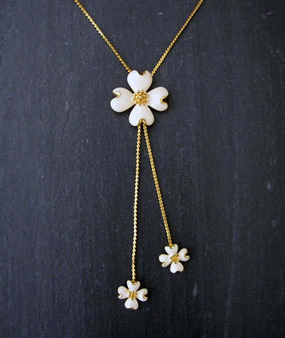 VINTAGE dogwood flower necklace  gold and ivory by VerseLuxe, $34.00