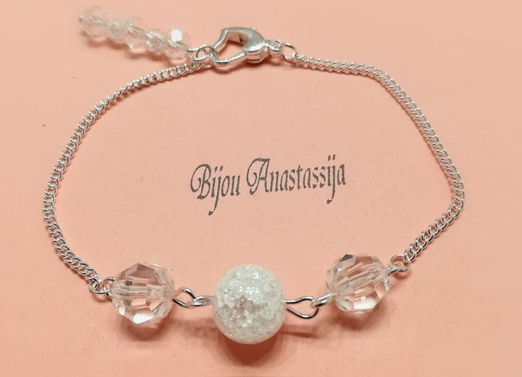 Brautschmuck - Armband Kette Silberkette mit Perlen und Crystal  - ein Designerstück von BijouAnastassija bei DaWanda