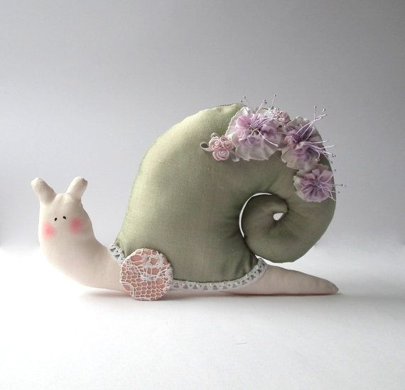 Stuffed animal toy Snail handmade plush toy by CherryGardenDolls, $26.00