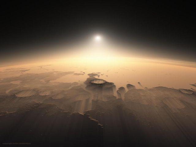 これが「火星の日の出」。NASAの探査機データを元にレンダリングされた、驚異的な風景