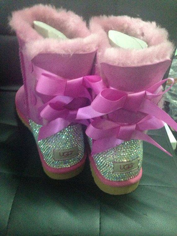 Uggs with Bow & Back bling by sparklingdecoration on Etsy, $265.00