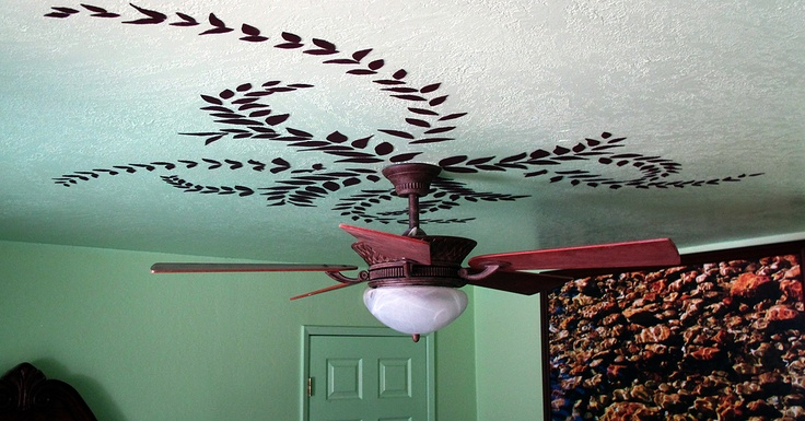 """Dark brown felt, scissors & Super 77...the finishing touches on one of my contributions to the """"EBCS""""...(Eradication of Boring Ceilings Socitey)---photo & project by Mark W. Patterson"""