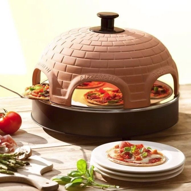 Electric Pizza Oven Terracotta Clay Metal Dual Heating Brick