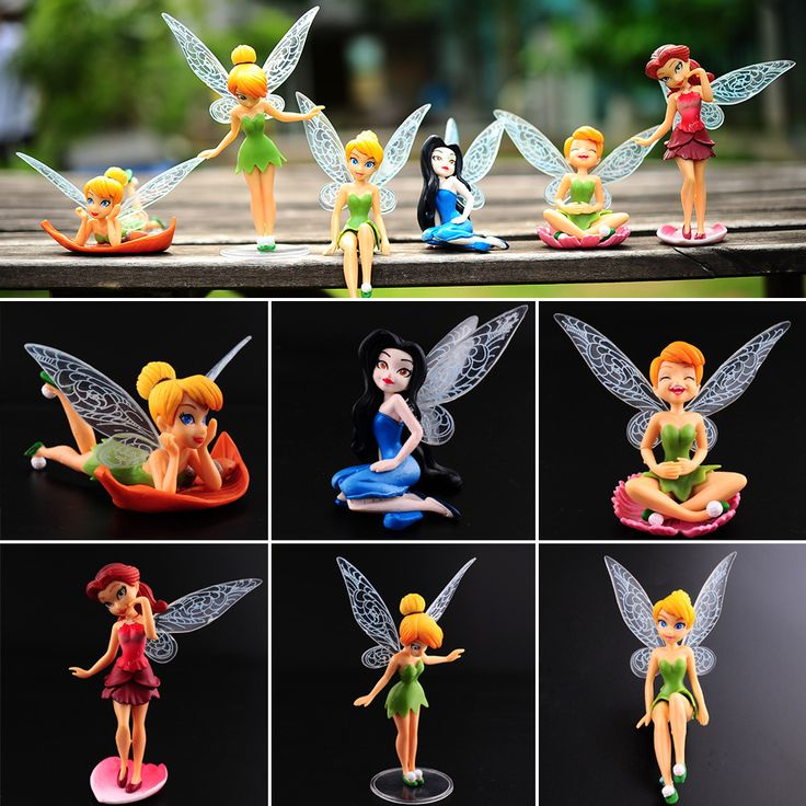 6pcs Tinker Bell Fairies Princess Figures PVC Cake Topper Kids Party ToyTinker Fairies Toy*kids toys