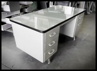 """Hey!  I have this same desk. I have been wanting to redo it...Jeremy...Im getting more ideas!   Vintage Metal 1950's All-Steel """"Arch Leg"""" Tanker Industrial Desk $550.00"""