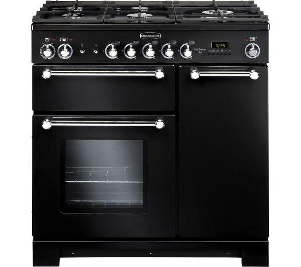 Kitchener 90 Dual Fuel Range Cooker - Black +  LEIHDC90BC Chimney Hood - Black +  Classic Splashback