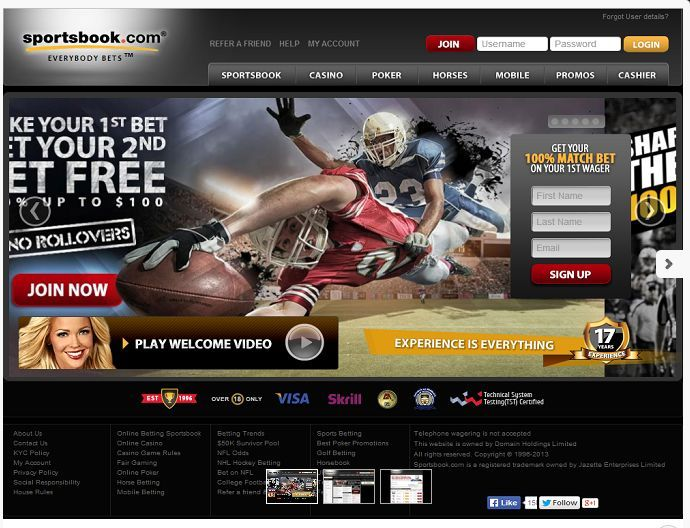 Sportsbook.com got very lucky when they landed that domain name. With a name like that they are one of the most recognized names in the industry. Can you imagine how many customers they get inadvertently searching stats online? They haven't quite built the reputation that some of the major bookmakers maintain but it's a work in progress.  http://www.latestsportsbonuses.com/sportsbooks/sportsbook/