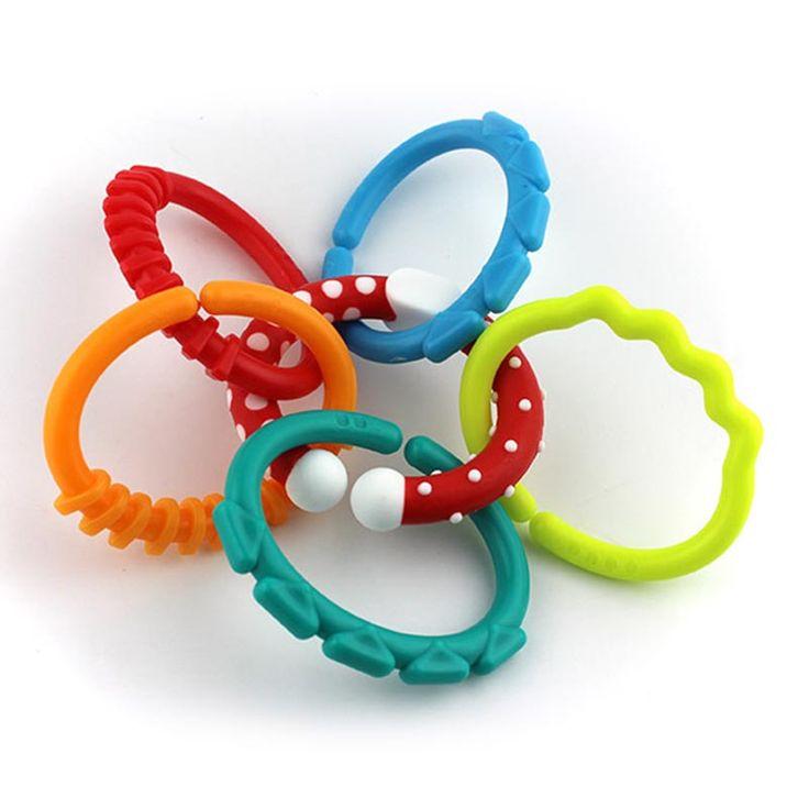 6 Pcs arc-en-cercle chaîne jouet pour bébé enfants molaires embrayage anneau de dentition pour bébé nouveau-né accroché hochet balle(China (Mainland))