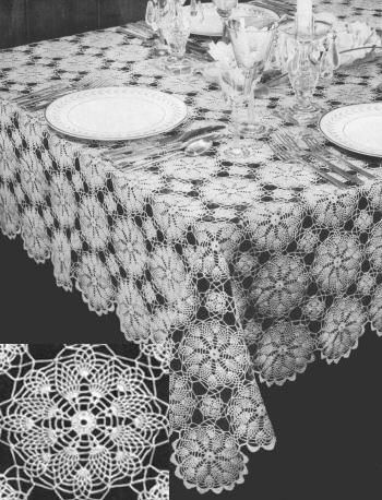 Early American Pineapple Motif Tablecloth Vintage Crochet Pattern for download