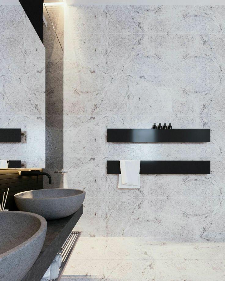 badarmaturen ablage schwarz marmor beton waschbecken #bathroom #style