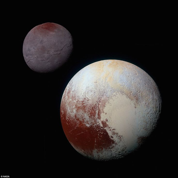 This composite of enhanced colour images of Pluto (lower right) and Charon (upper left) were taken by New Horizons as it passed through the Pluto system on July 14. This image highlights the striking differences between Pluto and Charon as well as the striking similarity between Charon's polar red terrain and Pluto's equatorial red terrain. Pluto and Charon are shown with correct relative sizes
