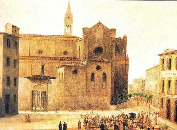 """""""Piazza vecchia di Santa Maria Novella"""" Fabio Borbottoni (1820–1902)  Cassa di Risparmio di Firenze Collection"""