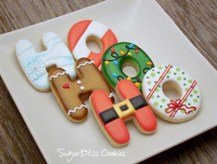 Galletas decoradas de Navidad: preciosas galletas decoradas by Sugar Bliss Cookies. #galleta #navidad #regalo