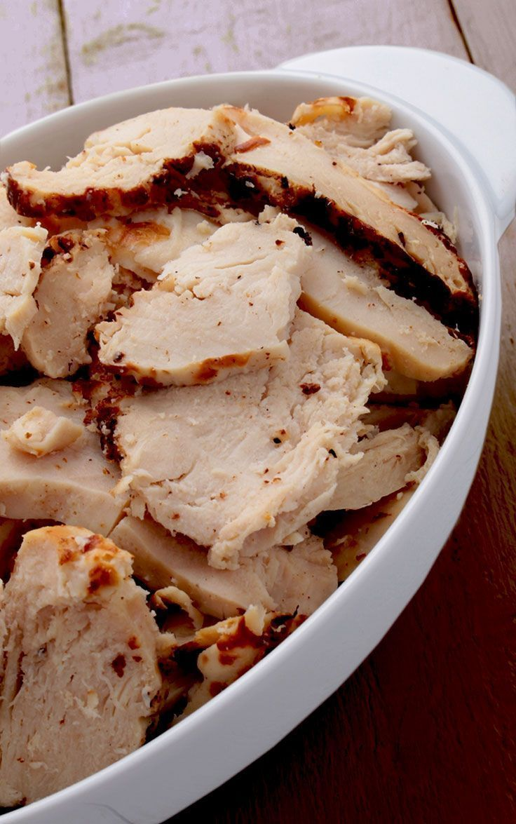 Slow Cooker Everything Chicken. Make this chicken, shred it and use it for soups, sandwiches, BBQ Pulled Chicken, with vegetables in stir fries, to top salads, and more. #crockpotchicken #everythingchicken