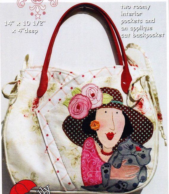 PATTERN - Gingham Girls Medium Carryall Bag -  applique & stitchery bag PATTERN - Red Brolly